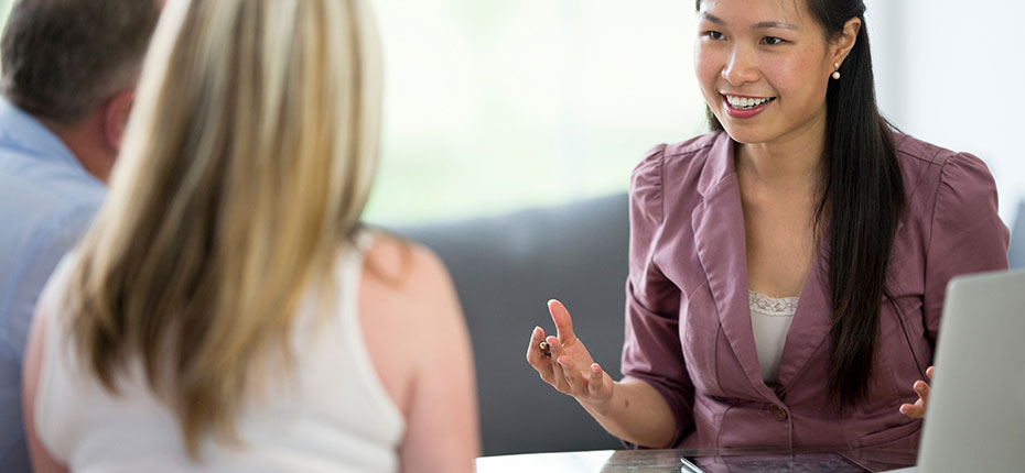 Woman offering advice to couple